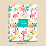 Fancy Flamingo - Kids Personalized, Custom Notebook - Homework, School, Durable Spiral Notebook for Back to School