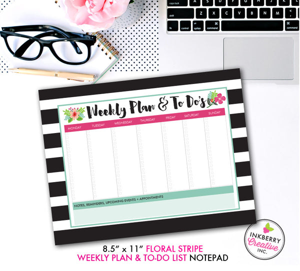 personalized notepad preppy dot stripe 3 sizes available small