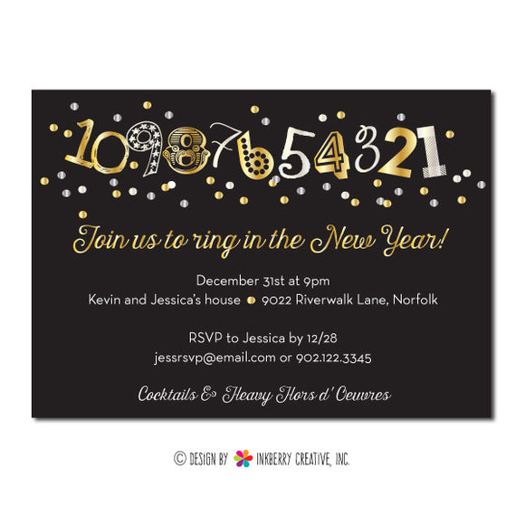 New Year's Countdown Confetti Party Invitation - inkberrycards
