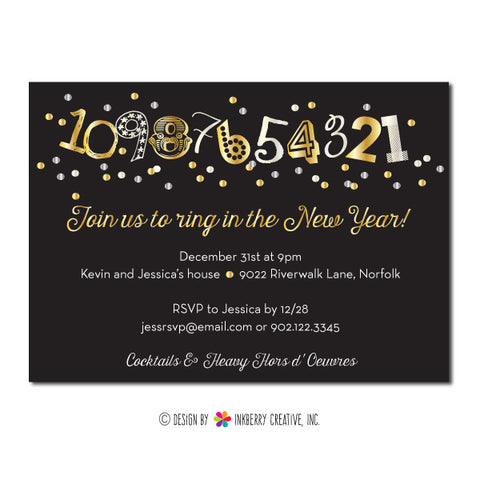 New Year's Countdown Confetti Party Invitation