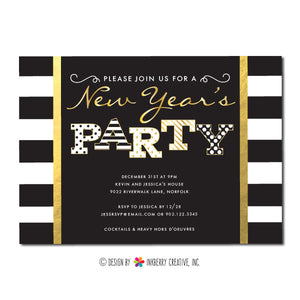 stripes dots and gold new years party invitation