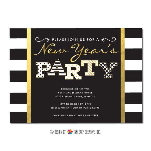 Stripes, Dots and Gold New Year's Party Invitation - inkberrycards