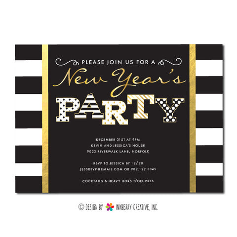 Stripes, Dots and Gold New Year's Party Invitation