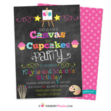 Canvas and Cupcakes - Painting Party Invitation - Chalkboard Style - Sibling, Friend, Twin Party