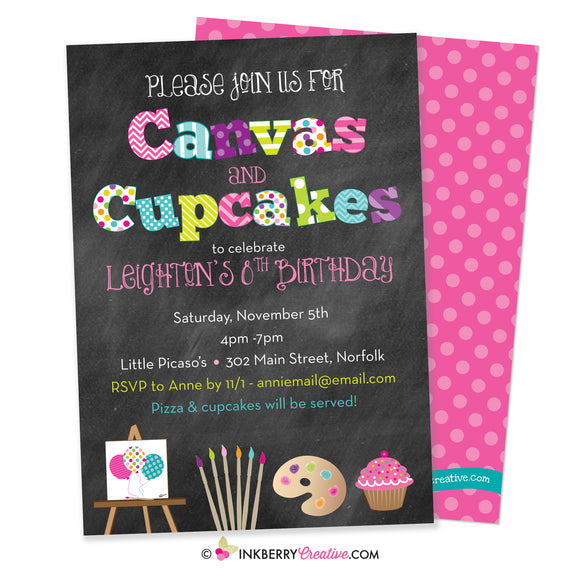 canvas and cupcakes painting party invitation on chalkboard background, bright colors, patterns, kids birthday, with cute clipart graphics, canvas, cupcakes, paint brushes and palette