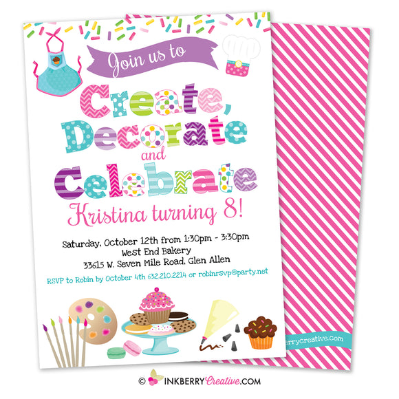 Create, Decorate, Celebrate - Cupcake and Cookie Decorating Birthday Party Invitation