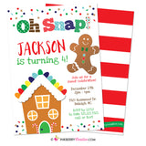 Gingerbread Birthday Party Invitation, Oh Snap Boys Gingerbread House Christmas Birthday Party - Printable, Instant Download, Editable, PDF