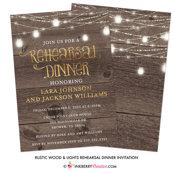 Rustic Woodgrain Lights Rehearsal Dinner Invitation - Wood, Gold, Mason Jars, Light String, Custom Invitation - inkberrycards