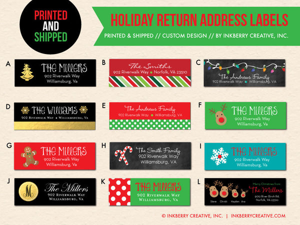 Christmas and Holiday Return Address Labels - Custom Designed to Match Your Holiday Cards