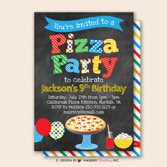 pizza party invitation chalkboard style primary colors kids