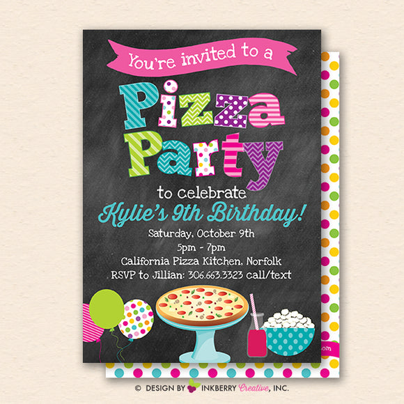 Pizza Party Invitation (Chalkboard Style) - Kids Pizza Birthday Party Invite - Printable, Instant Download, Editable, PDF
