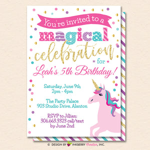 Unicorn Party Invitation (White) - Glitter Unicorn Birthday Party Invite - Printable, Instant Download, Editable, PDF