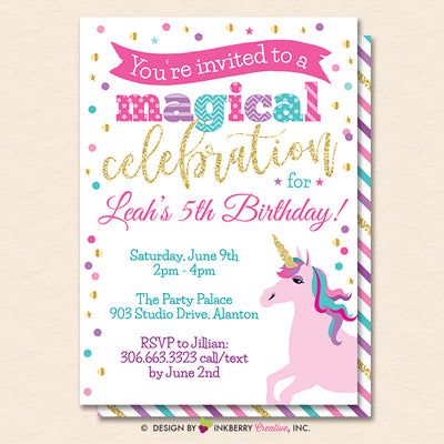 Unicorn Party Invitation (White) - Glitter Unicorn Birthday Party Invite - Printable, Instant Download, Editable, PDF - inkberrycards
