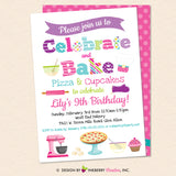 Little Chef Baking Party Invitation - Pizza and Cupcakes - Kids Baking Pizza Cupcakes Birthday Party Invite - Printable, Instant Download, Editable, PDF