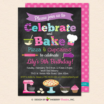 Little Chef Baking Party Invitation - Pizza and Cupcakes (Chalkboard Style) - Kids Baking Pizza Cupcakes Birthday Party Invite - Printable, Instant Download, Editable, PDF