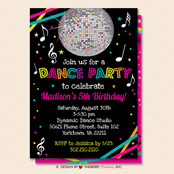 Dance Party Invitation - Dance Party Invite - Neon Glow Dance Party Invitation - Disco Ball - Printable, Instant Download, Editable, PDF - inkberrycards