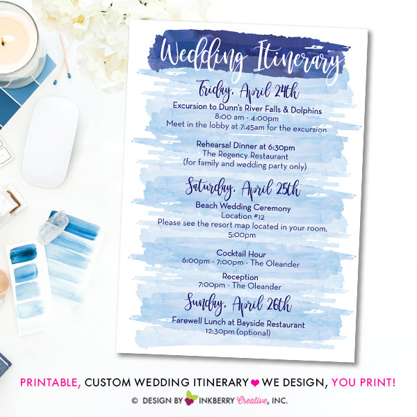 wedding itinerary watercolor printable custom colors destination wedding weekend itinerary digital