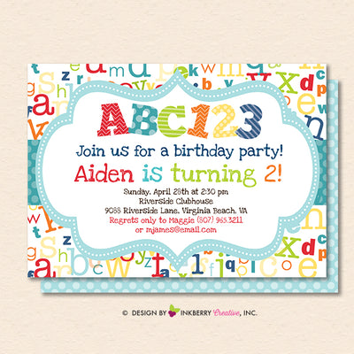 Alphabet Birthday Party Invitation - Printable, Instant Download, Editable, PDF - inkberrycards