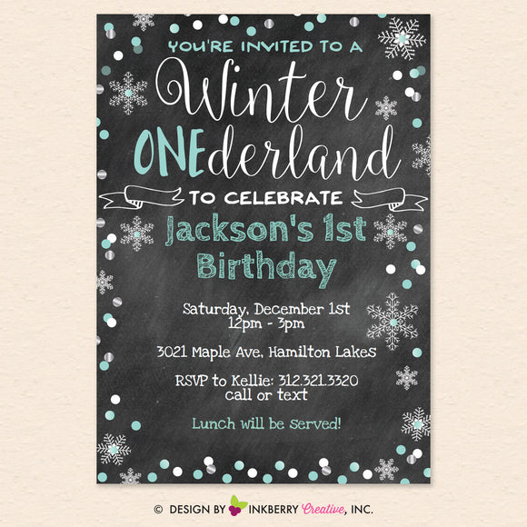 Winter One-derland 1st Birthday Party Invitation, Chalkboard Style, Snowflake, Chalkboard, Blue  - Printable, Instant Download, Editable, PDF