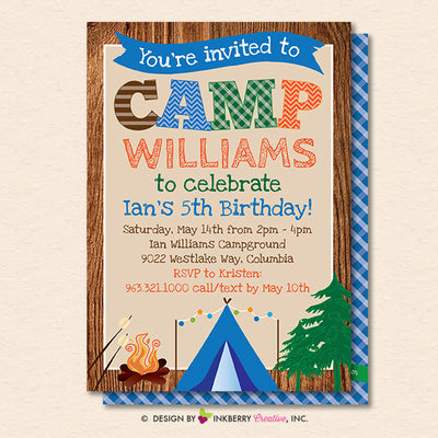 Camping Party Invitation - Backyard, Outdoor, Birthday, Camping Party - Printable, Instant Download, Editable, PDF - inkberrycards