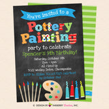 Pottery Painting Party Invitation (Boys) (Chalkboard Style) - Kids Art / Pottery Painting Birthday Party Invite - Printable, Instant Download, Editable, PDF