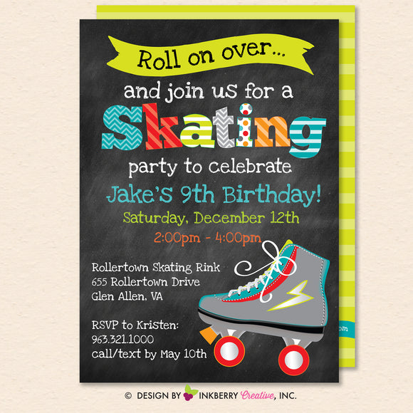 Roller Skating Birthday Party Invitation (Boys) - Printable, Instant Download, Editable, PDF - inkberrycards