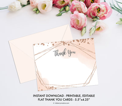 Bubbles and Brews Shower - Thank You Note Card - Flat A2 - Printable, Editable