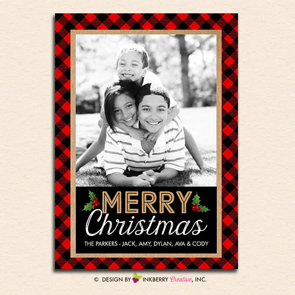 Buffalo Check Red and Black Christmas Plaid - Christmas Photo Card