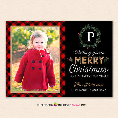 Buffalo Check Monogram Wreath - Christmas Photo Card - inkberrycards