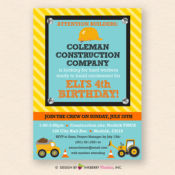 Little Builder Construction Equipment Birthday Party Invitation