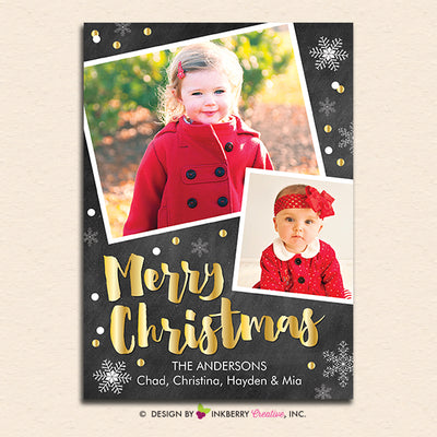 Chalkboard Silver and Gold Snow Merry Christmas Photo Card - inkberrycards