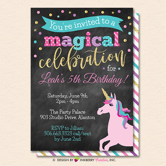 Unicorn Party Invitation (Chalkboard) - Glitter Unicorn Birthday Party Invite - Printable, Instant Download, Editable, PDF - inkberrycards