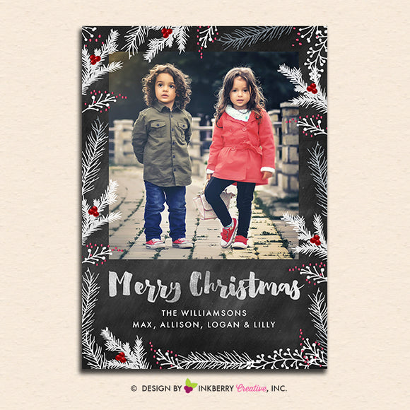 Chalkboard Winter Berry Branches - Merry Christmas Photo Card