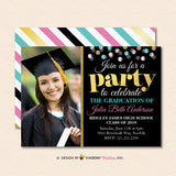Let's Party - Confetti Graduation Invitation or Announcement - inkberrycards