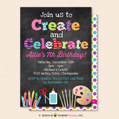 Create and Celebrate - Arts and Crafts Birthday Party Invitation, Chalkboard Style - Kids Arts Crafts Painting Party - Printable, Instant Download, Editable, PDF