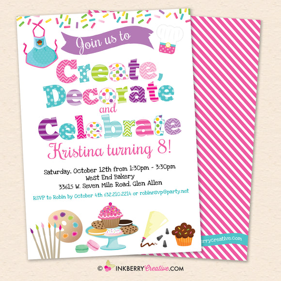 Create, Decorate, Celebrate - Cookie Cupcake Apron Decorating Birthday Party Invitation, Kids Baking and Crafts Party - Printable, Instant Download, Editable, PDF