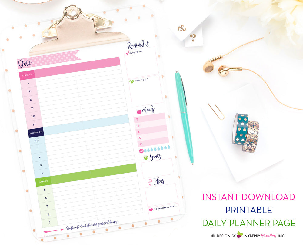 image about Printable Water Tracker called Printable Day-to-day Planner Site - Quick Down load, PDF, Day-to-day Agenda, In the direction of-Do, Supper Planner, H2o Tracker, Ambitions, Options, Todays System PDF Planner