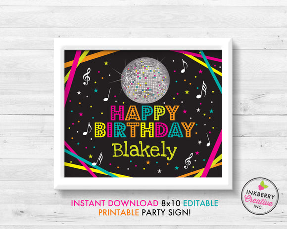 Neon Dance Party Sign, Disco Ball, Birthday, 8x10, Editable, Printable PDF Party Sign