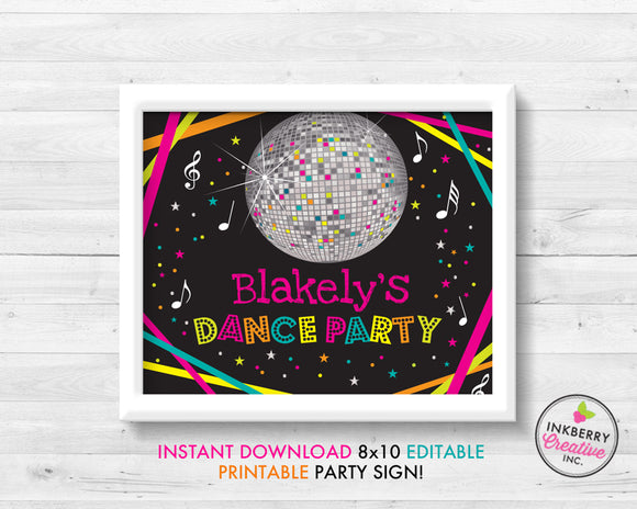 Neon Dance Party Sign, Disco Ball, 8x10, Editable, Printable PDF Party Sign