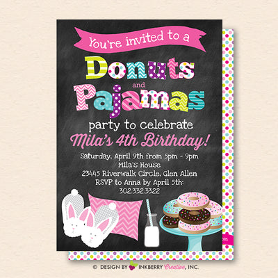 Donuts and Pajamas Party Invitation (Chalkboard Style) - Kids Donut Breakfast Pajama Birthday Party Invite - Printable, Instant Download, Editable, PDF