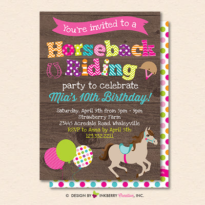 Horseback Riding Birthday Party Invitation - Woodgrain Horse Theme Birthday Party Invite - Printable, Instant Download, Editable, PDF - inkberrycards