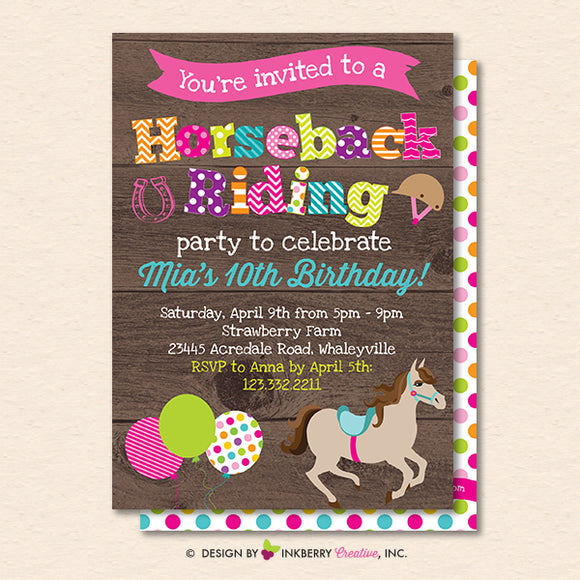 Horseback Riding Birthday Party Invitation - Woodgrain Horse Theme Birthday Party Invite - Printable, Instant Download, Editable, PDF