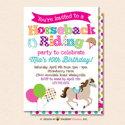 Horseback Riding Birthday Party Invitation (White) - Horse Theme Birthday Party Invite - Printable, Instant Download, Editable, PDF - inkberrycards
