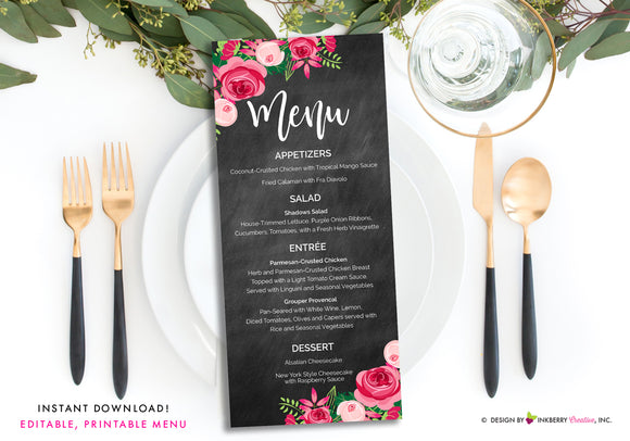 Chalkboard Pink Floral Wedding Menu - Printable, Editable, Menu Cards - Instant Download, Editable PDF File, Print Your Own - inkberrycards