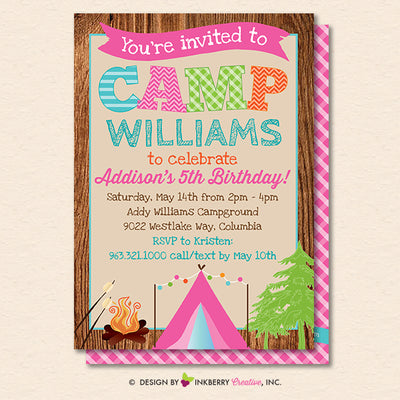 Camping Party Invitation - Backyard, Outdoor, Birthday, Girls Camping Party - Printable, Instant Download, Editable, PDF - inkberrycards