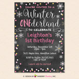 Winter One-derland 1st Birthday Party Invitation, Chalkboard Style, Snowflake, Chalkboard, Pink, Gold  - Printable, Instant Download, Editable, PDF
