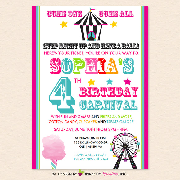 Carnival (Pink) Birthday Party Invitation - Printable, Instant Download, Editable, PDF
