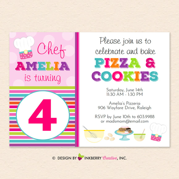 Pizza and Cookies - Little Chefs Baking Birthday Party Invitation - Printable, Instant Download, Editable, PDF