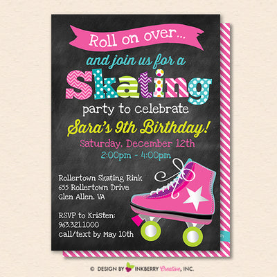 Roller Skating Birthday Party Invitation - Printable, Instant Download, Editable, PDF - inkberrycards