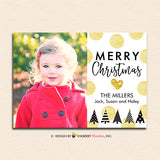 Gold Polka Dot Modern Trees - Christmas Photo Card - inkberrycards